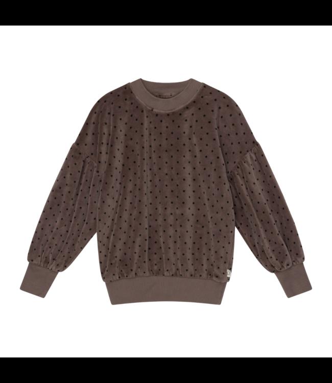 Romina organic girls sweatshirt dots - taupe