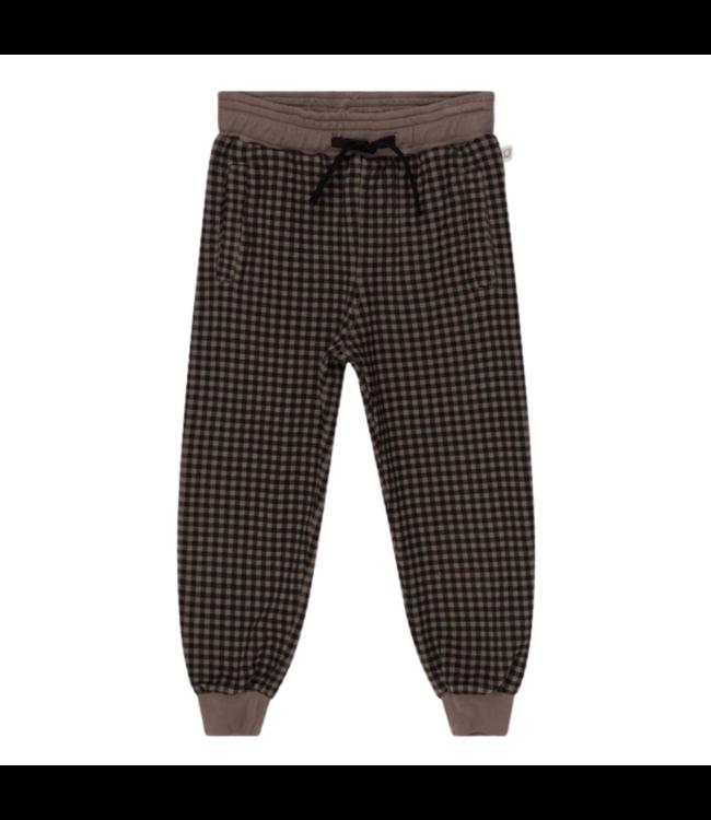 Leo organic plaid kids pants - taupe