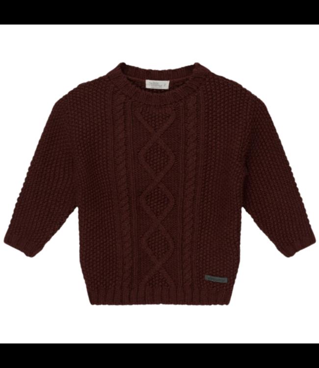 Joss kids cable knit jersey - garnet