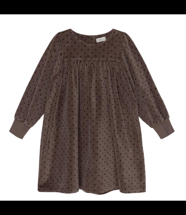 Irene organic girl dress dots - taupe