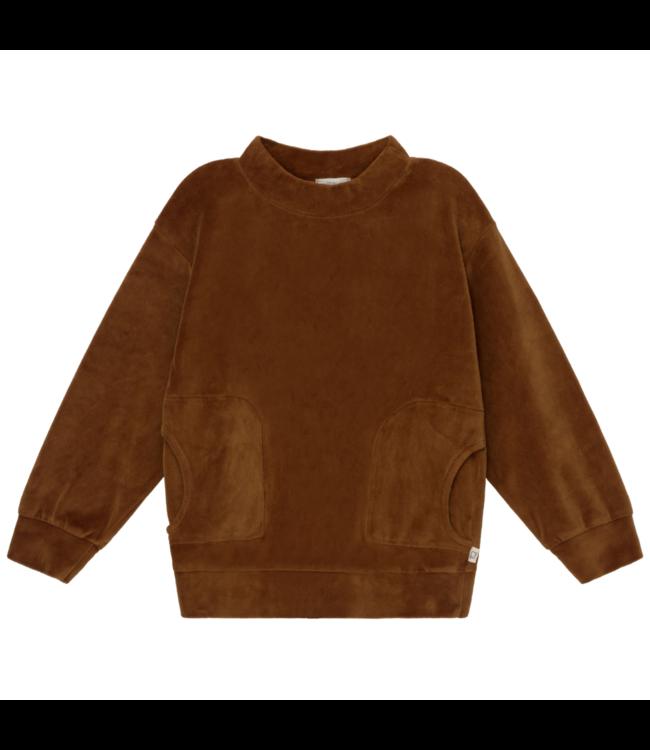 Axel organic kids velour sweatshirt - caramel