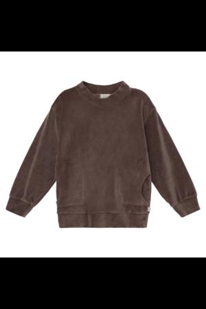 My little cozmo Axel organic kids velour sweatshirt - taupe