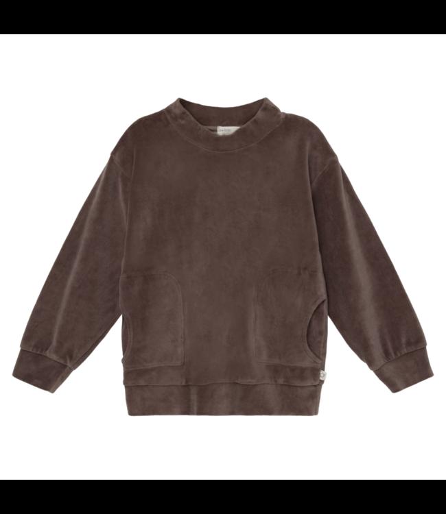 Axel organic kids velour sweatshirt - taupe