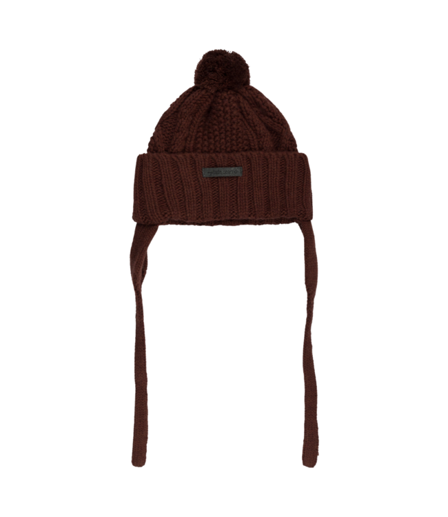 Morgan baby knitted pom pom hat - garnet