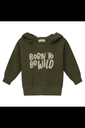 My little cozmo Wild organic printed baby hoodie sweatshirt - khaki