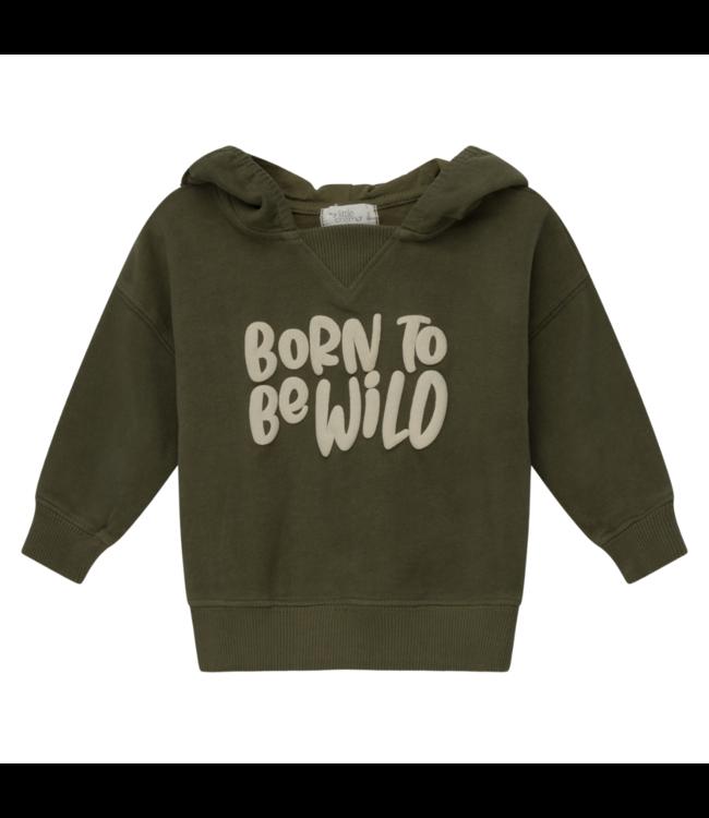 Wild organic printed baby hoodie sweatshirt - khaki