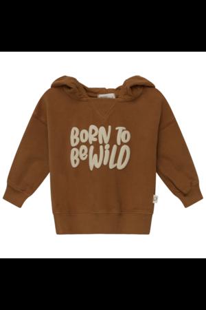 My little cozmo Wild organic printed baby hoodie sweatshirt - caramel
