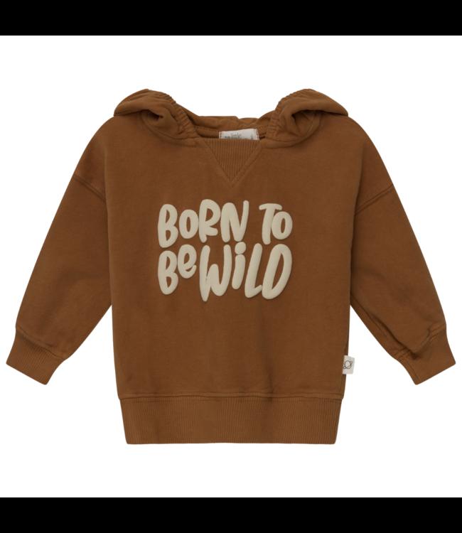 Wild organic printed baby hoodie sweatshirt - caramel