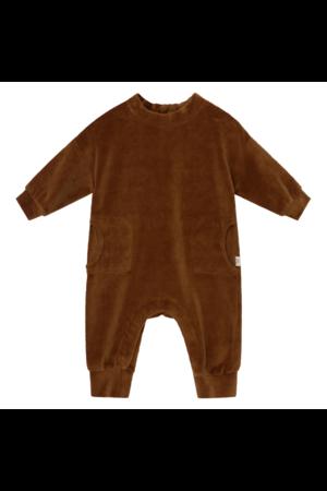 My little cozmo Lou organic baby velour jumpsuit - caramel