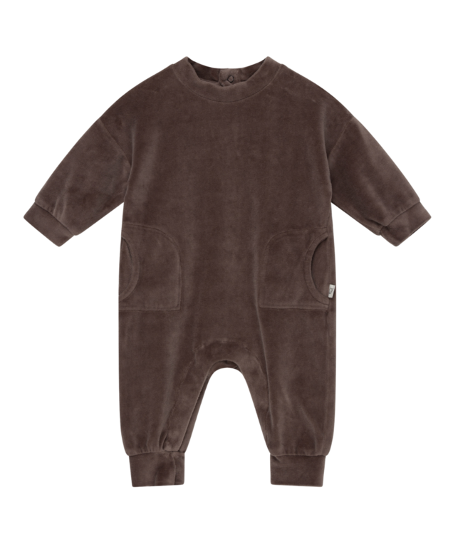 Lou organic baby velour jumpsuit - taupe