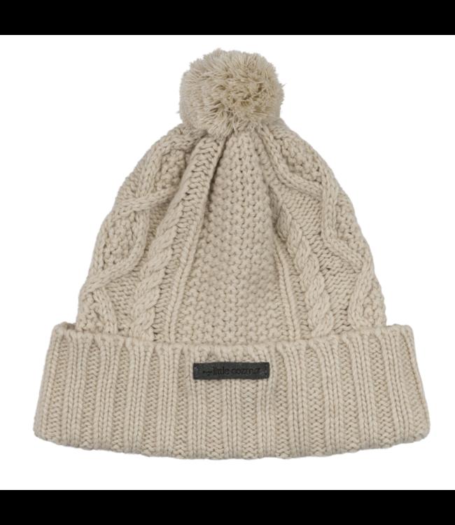 Morgan kids knitted pom pom hat - ivory
