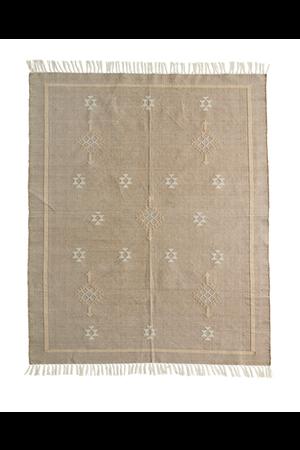 Handwoven cotton rug - beige