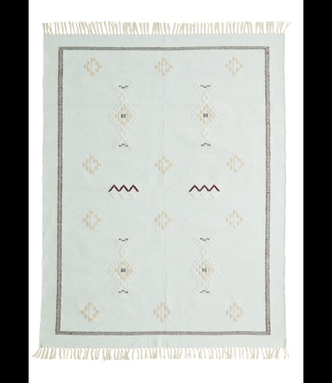 Handwoven cotton rug - light mint