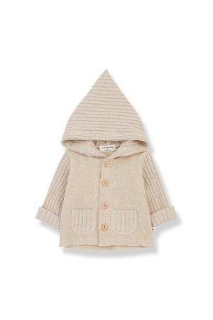 1+inthefamily Elliot newborn hood jacket cream