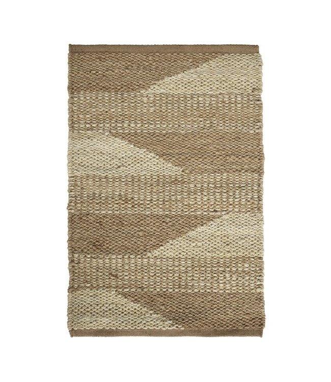 Jute tapijt, tweekleurig patroon - naturel, verschillende maten