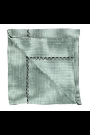 Caravane Napkin Noé, washed linen - sauge stripes
