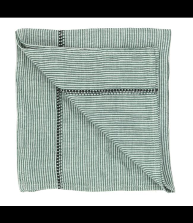 Napkin Noé, washed linen - sauge stripes