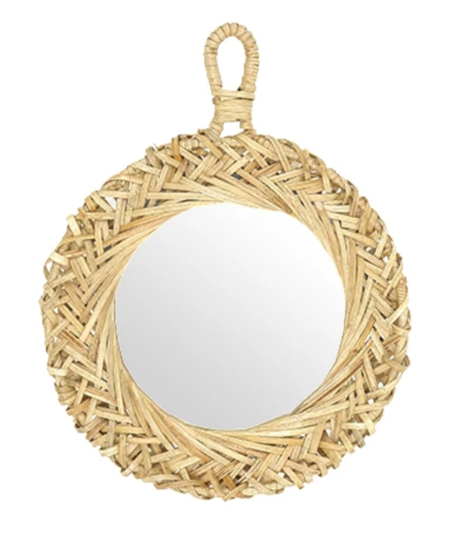 Handwoven bamboo mirror 'Aena' - natural