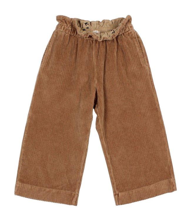 Knit velour culotte pants - muscade