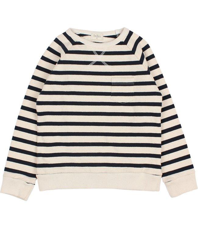 Buho Navy stripes sweatshirt - ecru