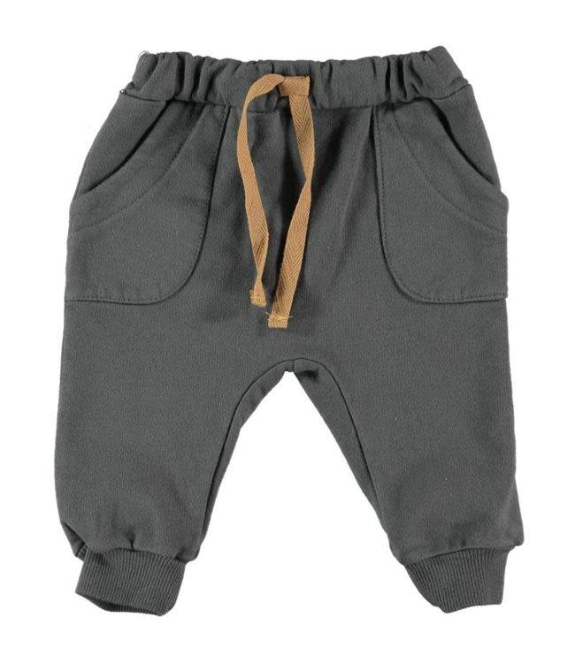 Nora cotton fleece pants - anthracite