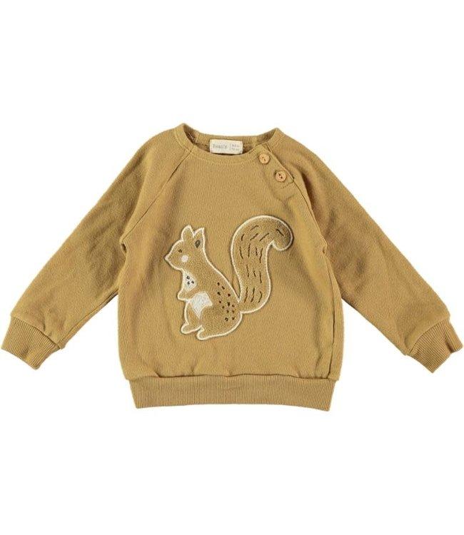 Aran jersey sweatshirt chipmunk - mustard
