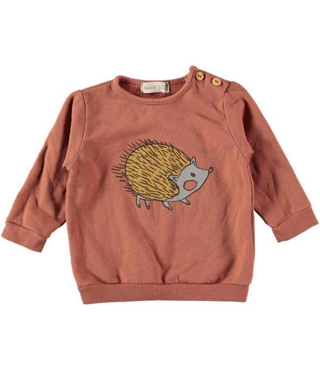 Nil cotton fleece sweatshirt hedgehog - tile