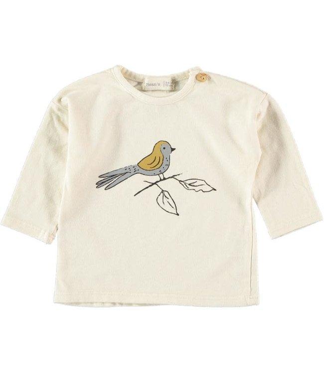 Roc cotton t-shirt bird - ecru