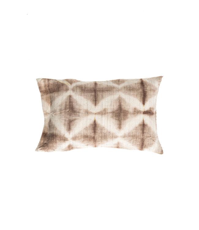 Cushion Bayeta grège losanges - shibori