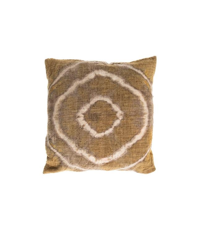 Cushion Bayeta olive green circle - shibori