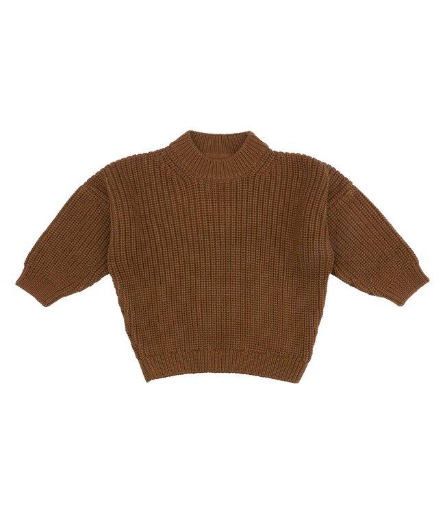 Organic chunky knit sweater - toffee
