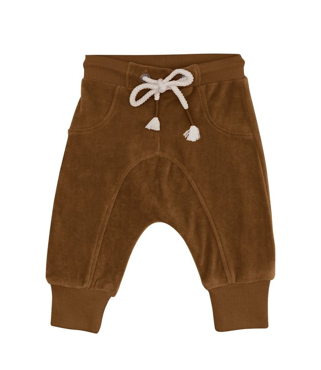 Organic velour joggers - toffee
