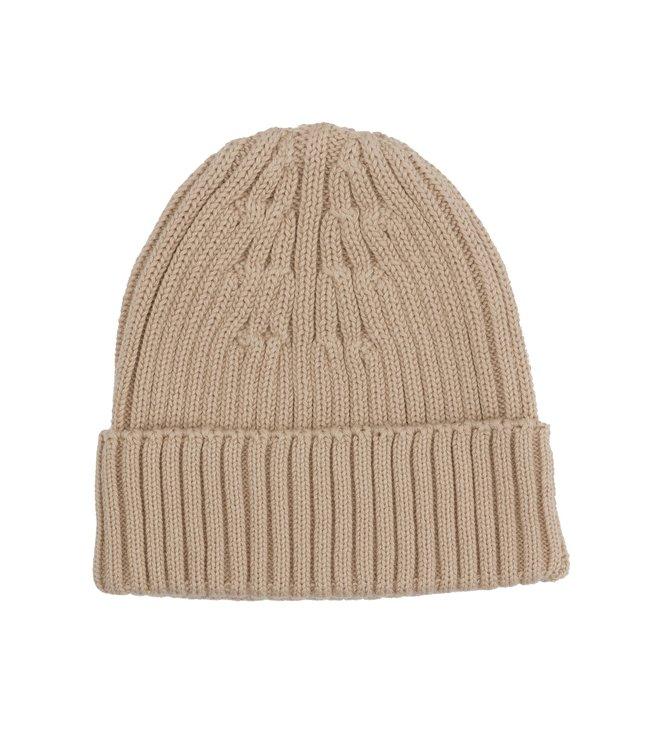Organic rib knit beanie - almond