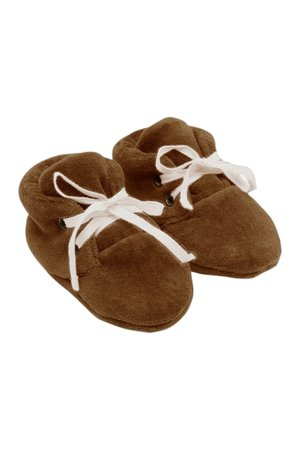Kidwild Collective Organic velour baby booties - toffee