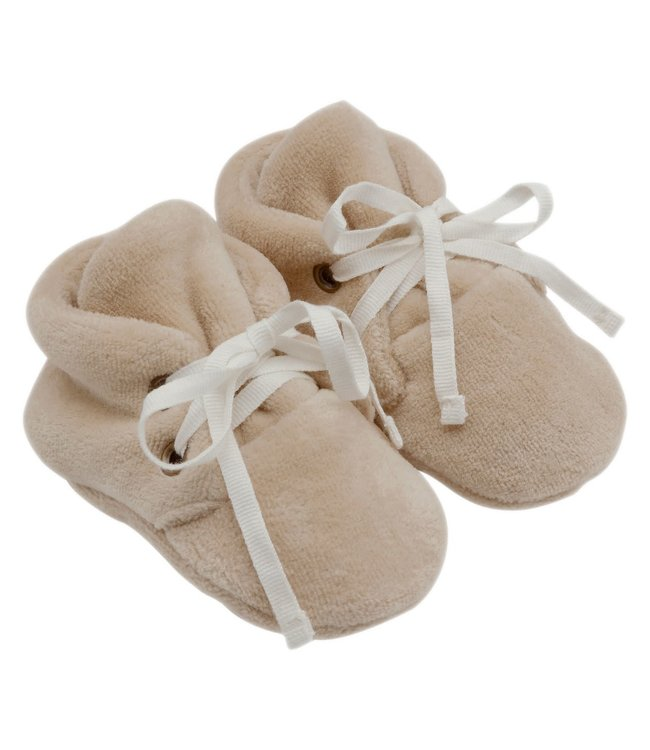 Kidwild Collective Organic velour baby booties - almond
