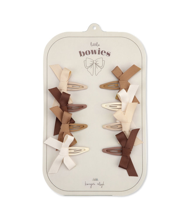 8 pack hair clips bow - caramel mix