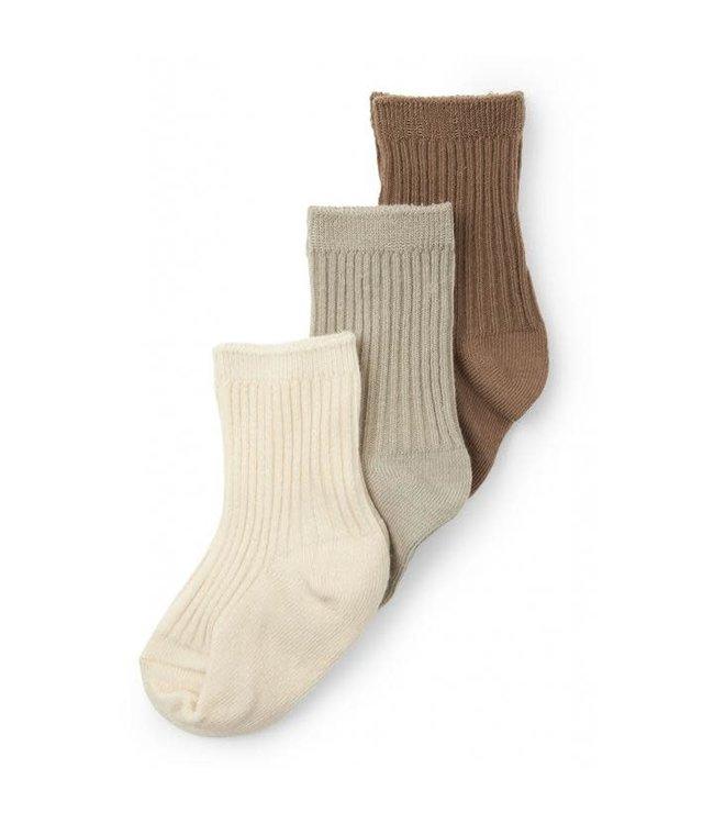 3 Pack rib sokken - almond/paloma grey/creme