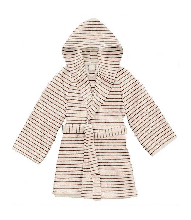 Kids terry bathrobe striped - bisquit
