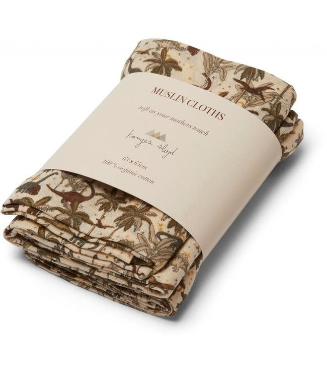 3 pack muslin cloth - dino
