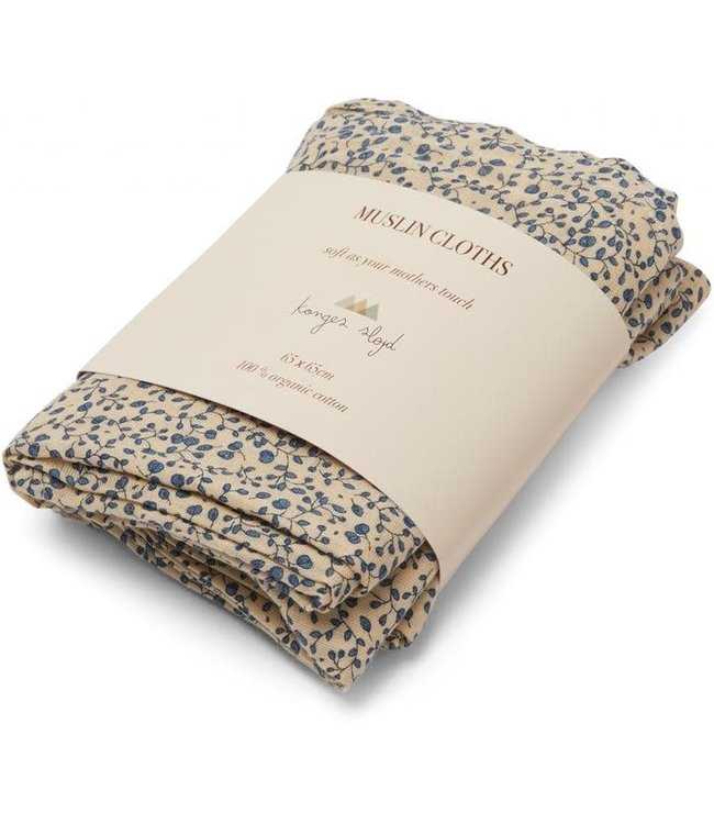 Konges Sløjd 3-Pack muslin cloth - blue blossom mist