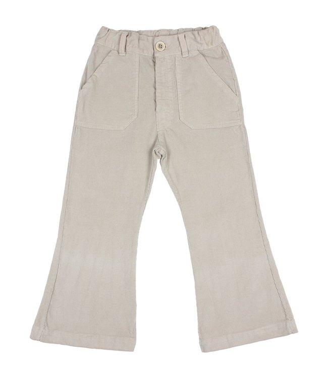 Flared velvet pants - stone