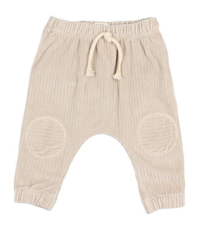 Baby knit velour pants - stone