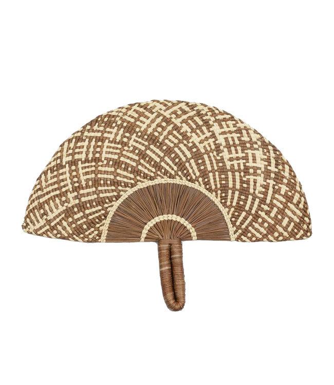 Handwoven fan - brown & beige # 1