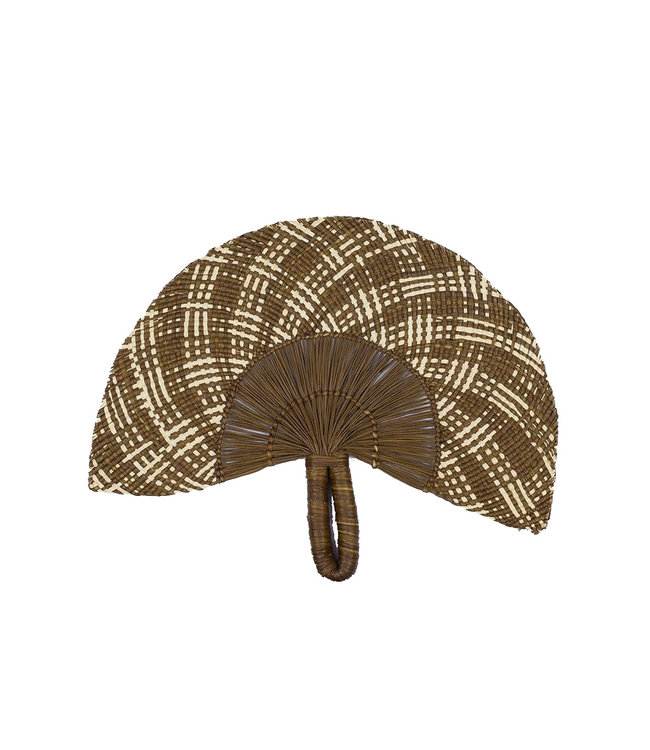 Handwoven fan - brown & beige # 4