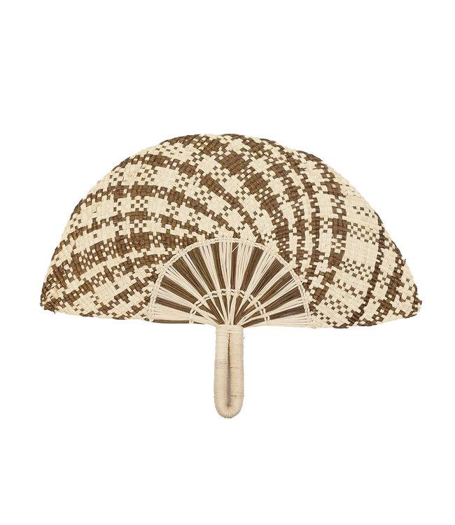 Handwoven fan - brown & beige # 3