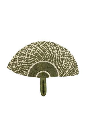 Handwoven fan - green khaki & beige