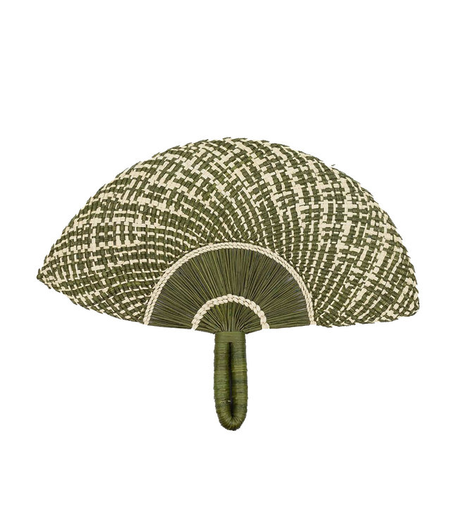 Handgeweven waaier - green khaki & beige