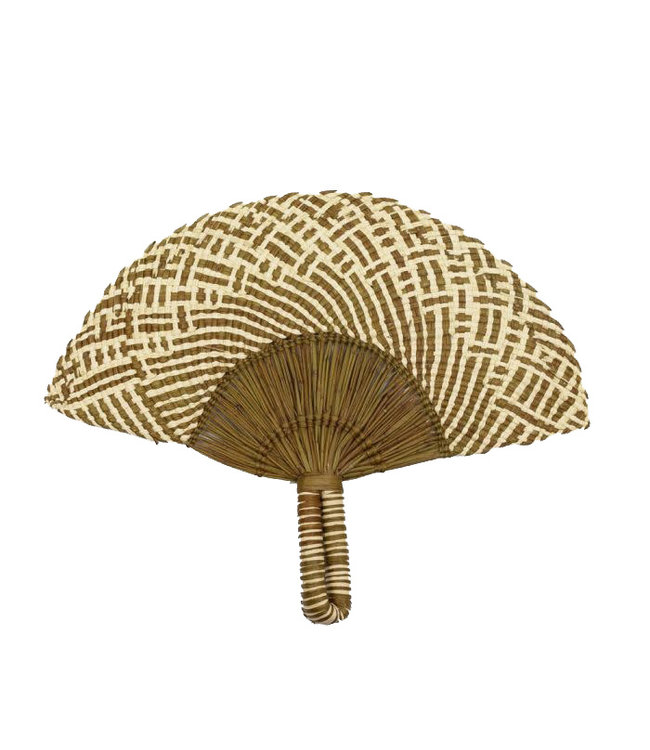 Handwoven fan - brown & natural 3