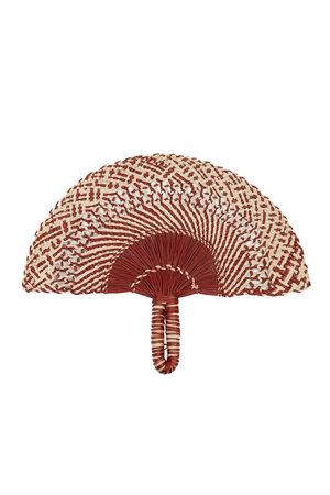 Handgeweven waaier - dark red & natural