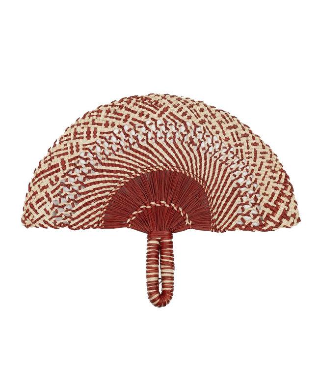 Handwoven fan - dark red & natural